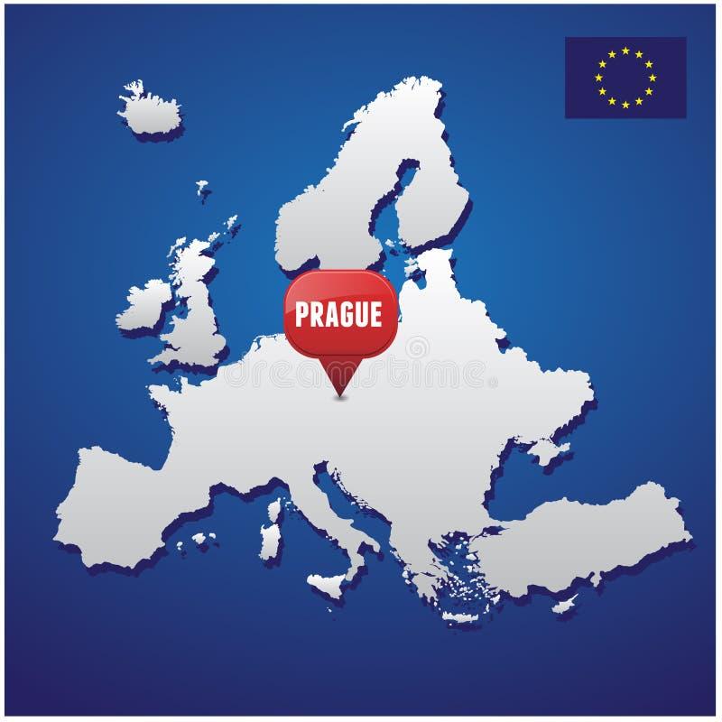 Prague sur la carte européenne illustration de vecteur