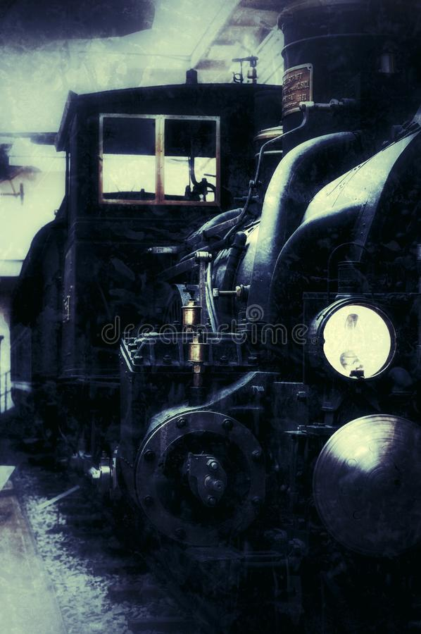 2017-09-17. Prague. Technical Museum. Old retro steam train front view. stock photos