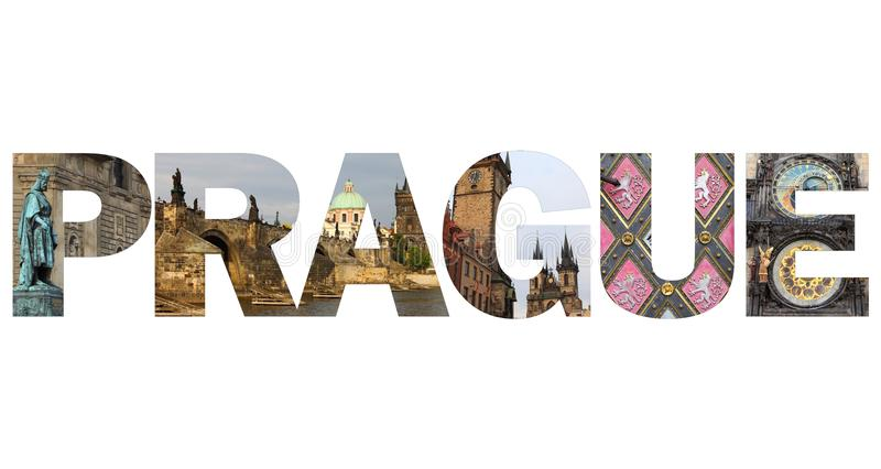Prague text. Written with pictures of landmarks royalty free stock photo