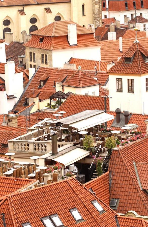 Prague tile roofs stock photo