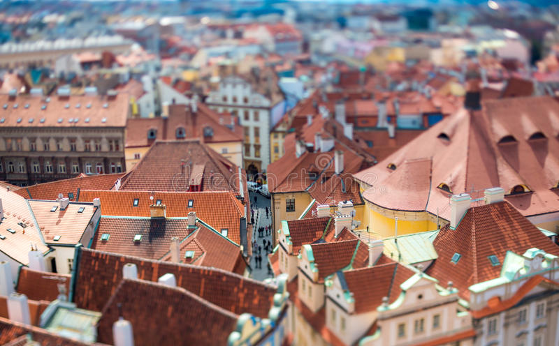 Prague - Tilt shift lens. stock photo