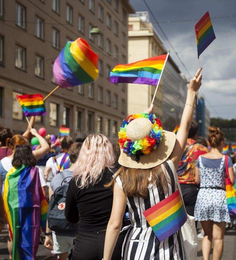 Prague/Tjeckien - Augusti 11 2018: LGBT Pride March arkivbilder