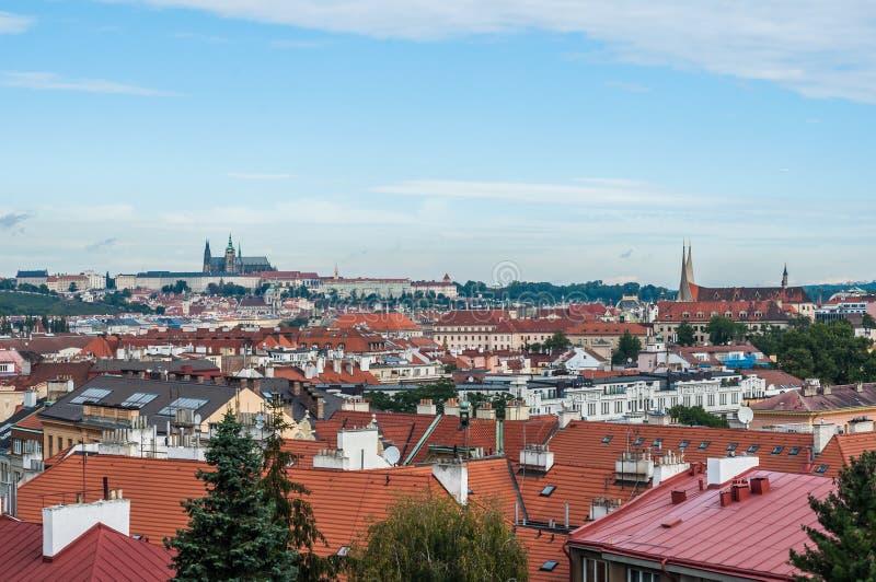 Prague Tjeckien, domkyrkan av St Vito, taken av staden, en härlig sikt royaltyfri fotografi