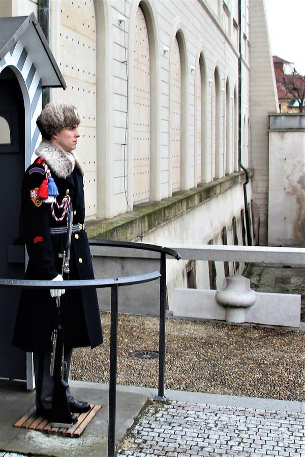 Prague Tjeckien, Januari 2015 En soldat av den tjeckiska vakten på stolpen av den kungliga slotten arkivbilder