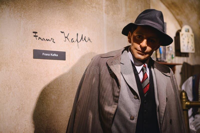 PRAGUE TJECKIEN - MAJ 2017: Vaxdiagramet av Franz Kafka, Tysk-språk judisk romanförfattare, författare för kort berättelse Madam  arkivfoto