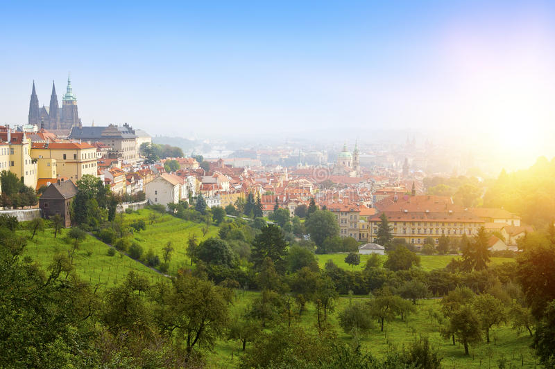 Prague, top view of Old Town roofs in the old city of Prague Stare Mesto stock photo