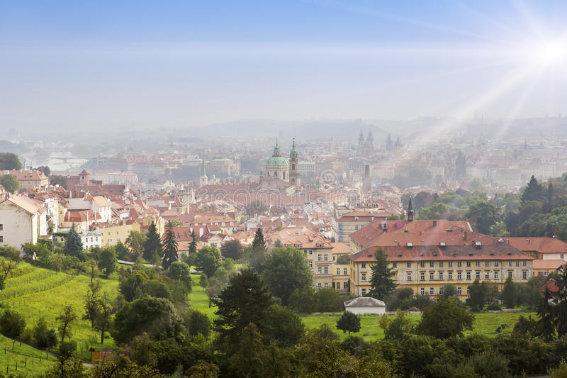 Prague, top view of Old Town roofs in the old city of Prague Stare Mesto royalty free stock photo