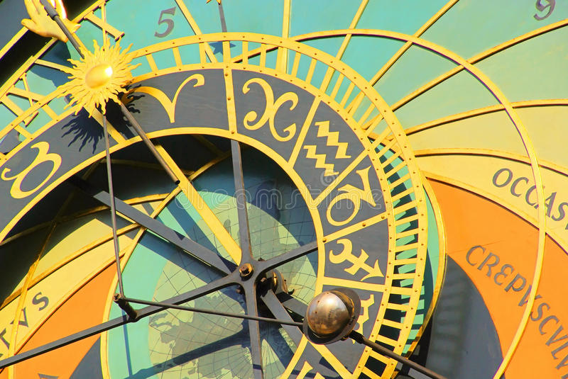 Prague tower clock. In Prague, the old famous tower clock stock photography