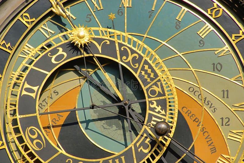 Prague tower clock. Prague, the ancient tower clock stock image