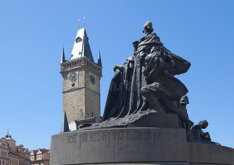 Prague - Town Hall Tower at The Old Town Squre. Prague - Town Hall Tower an Jan Hus Memorial at The Old Town Square royalty free stock image