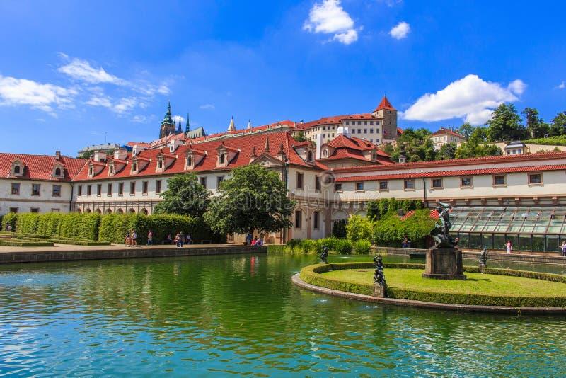Prague trädgårdar arkivfoto