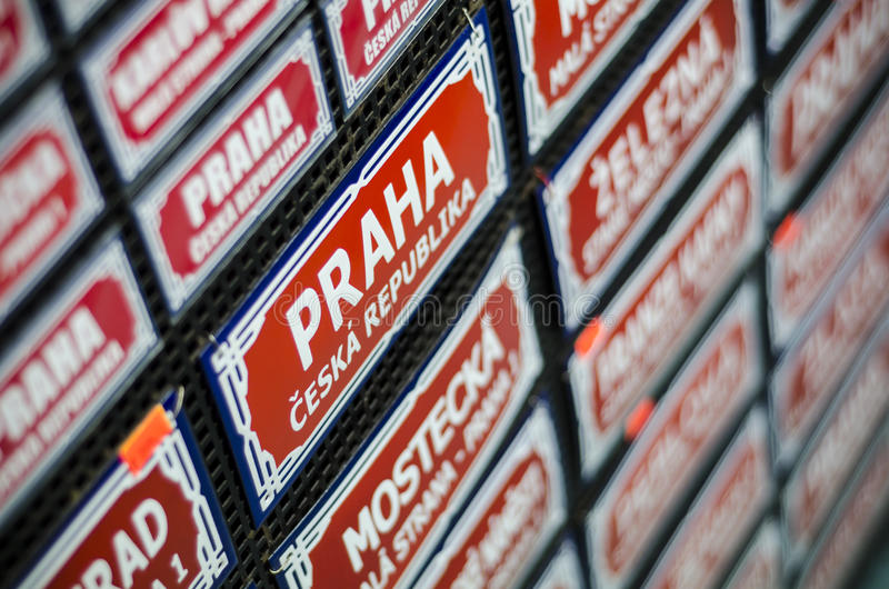 Prague Traditional Street Sign Souvenir Royalty Free Stock Images