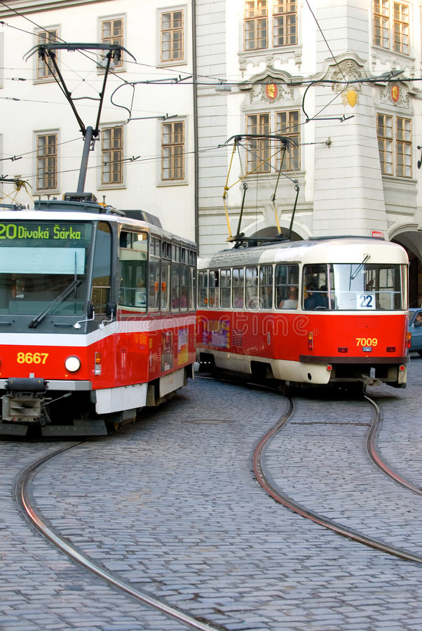 Free Prague Trolley Cars Stock Photo - 2967090