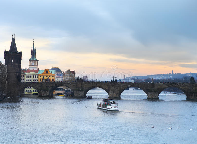 Download Prague At Twilight, View Of Charles Bridge Stock Photo - Image: 34351388