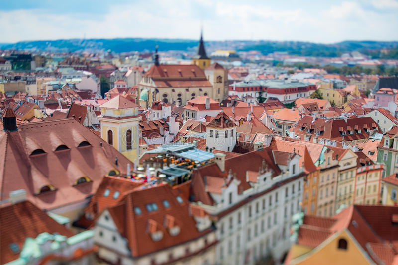 Prague view of the city from above. Tilt shift lens stock images