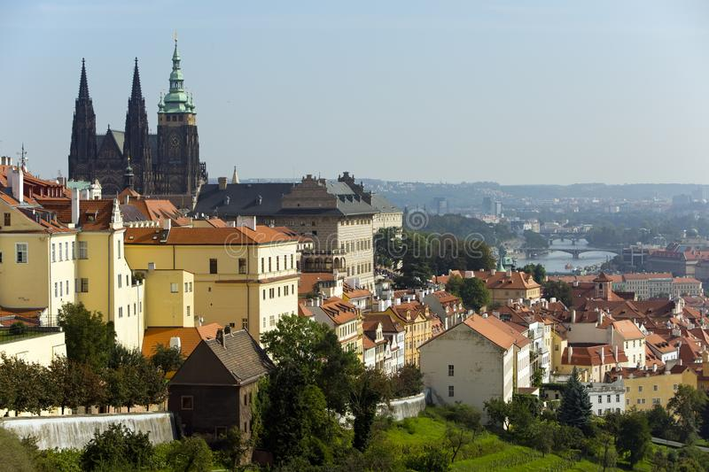 Prague. View of the old city and Saint Vitus cathedral stock image