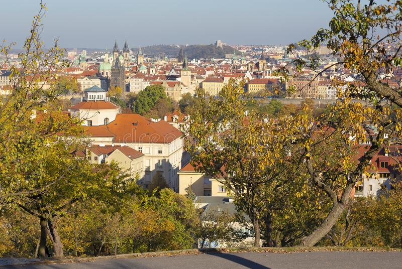 Prague - The view over the the city with the Charles bridge and the Old Town  in evening light from Petrin hill.  stock photo