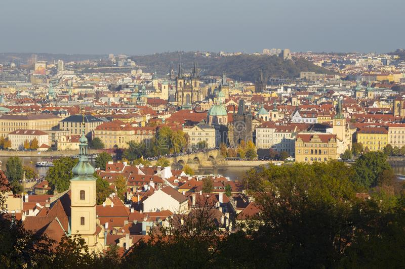 Prague - The view over the the city with the Charles bridge and the Old Town  in evening light from Petrin hill.  stock photography