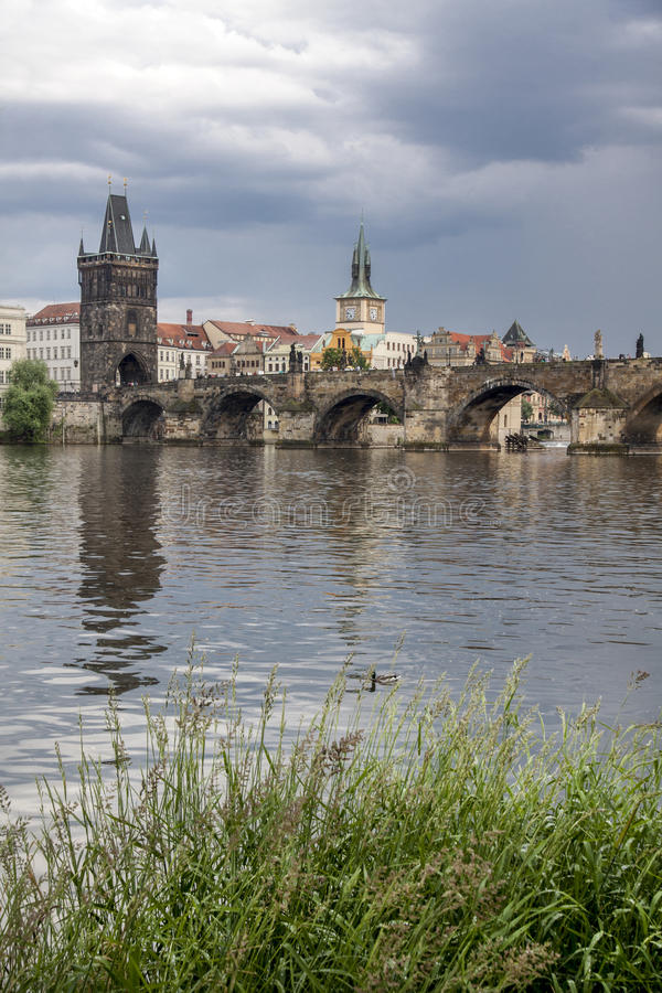 Prague. View from Vltava to the Charles Bridge and the Old Town. The famous Charles Bridge The Old Town Bridge Tower started in 1357 under the auspices of King stock images