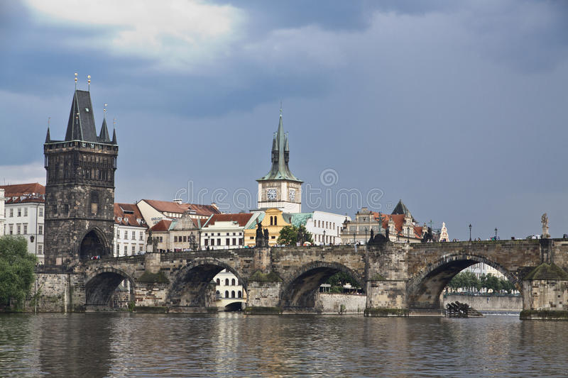 Prague. View from Vltava to the Charles Bridge and the Old Town. The famous Charles Bridge The Old Town Bridge Tower started in 1357 under the auspices of King stock photos