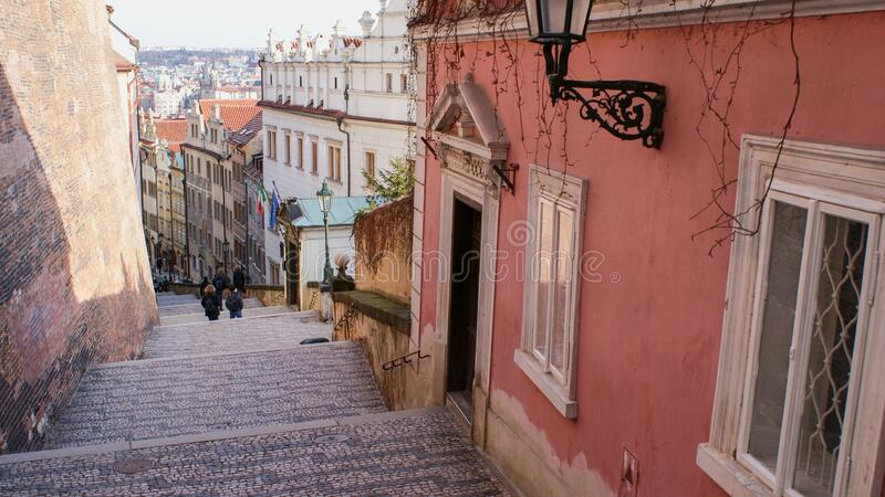 Prague Visit Tourist castle stairs from the Cathedral St. Vitus to the Old Town Prague royalty free stock image