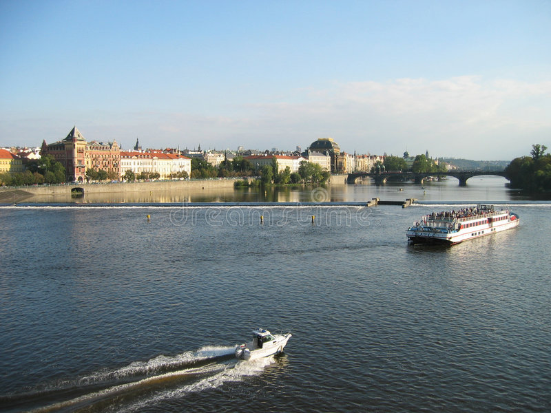 Prague Vltava river stock photo