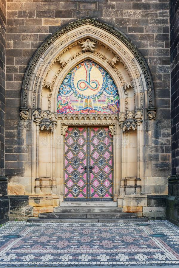 Prague, Vysehrad, decorated the door of the cathedral royalty free stock images