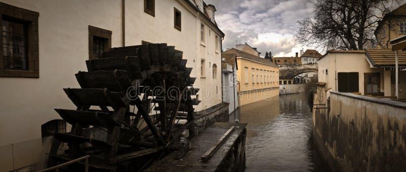Prague Waterwheel on Certovka stock photo