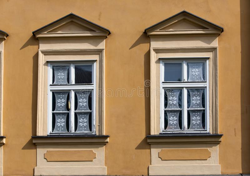 Prague. Window in the old house, decorated with traditional authentic lace royalty free stock photography