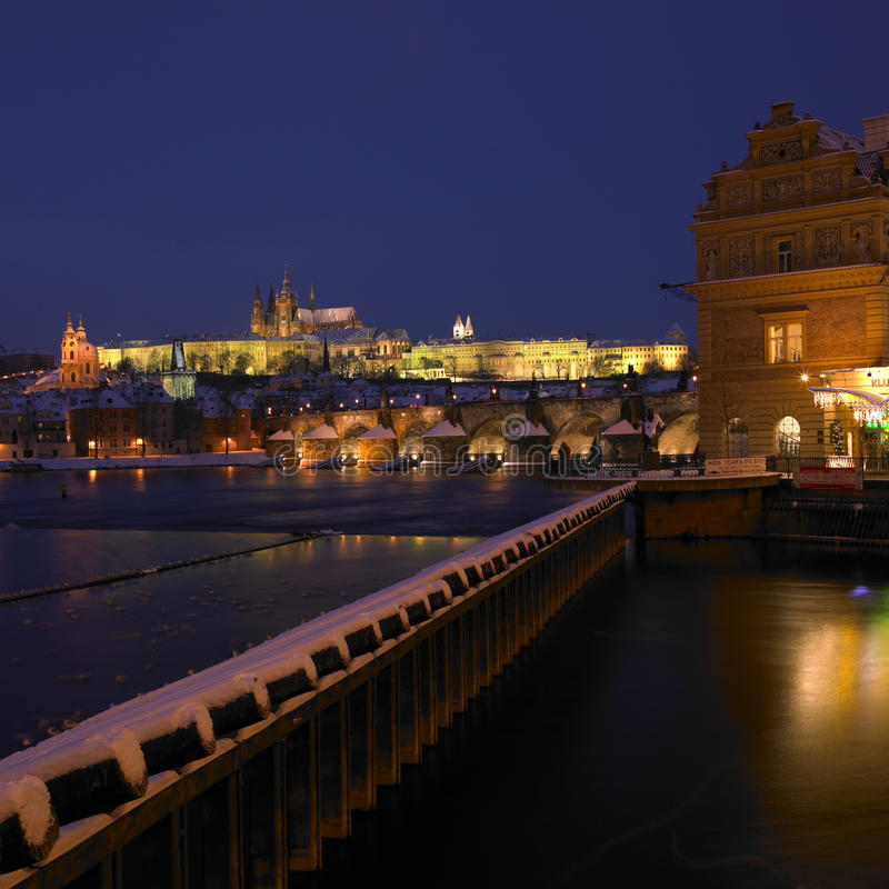 Prague in winter. Lavka and Prague Castle with Charles bridge in winter, Prague, Czech Republic royalty free stock images