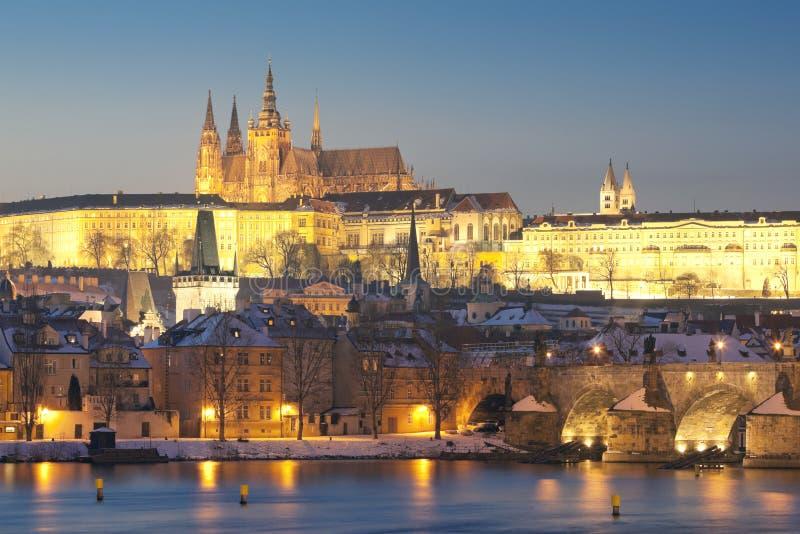 Download Prague in winter stock photo. Image of prague, dusk, river - 12754460