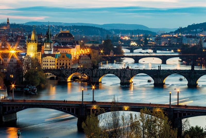 Pragues bridges at nights. Scene royalty free stock photos