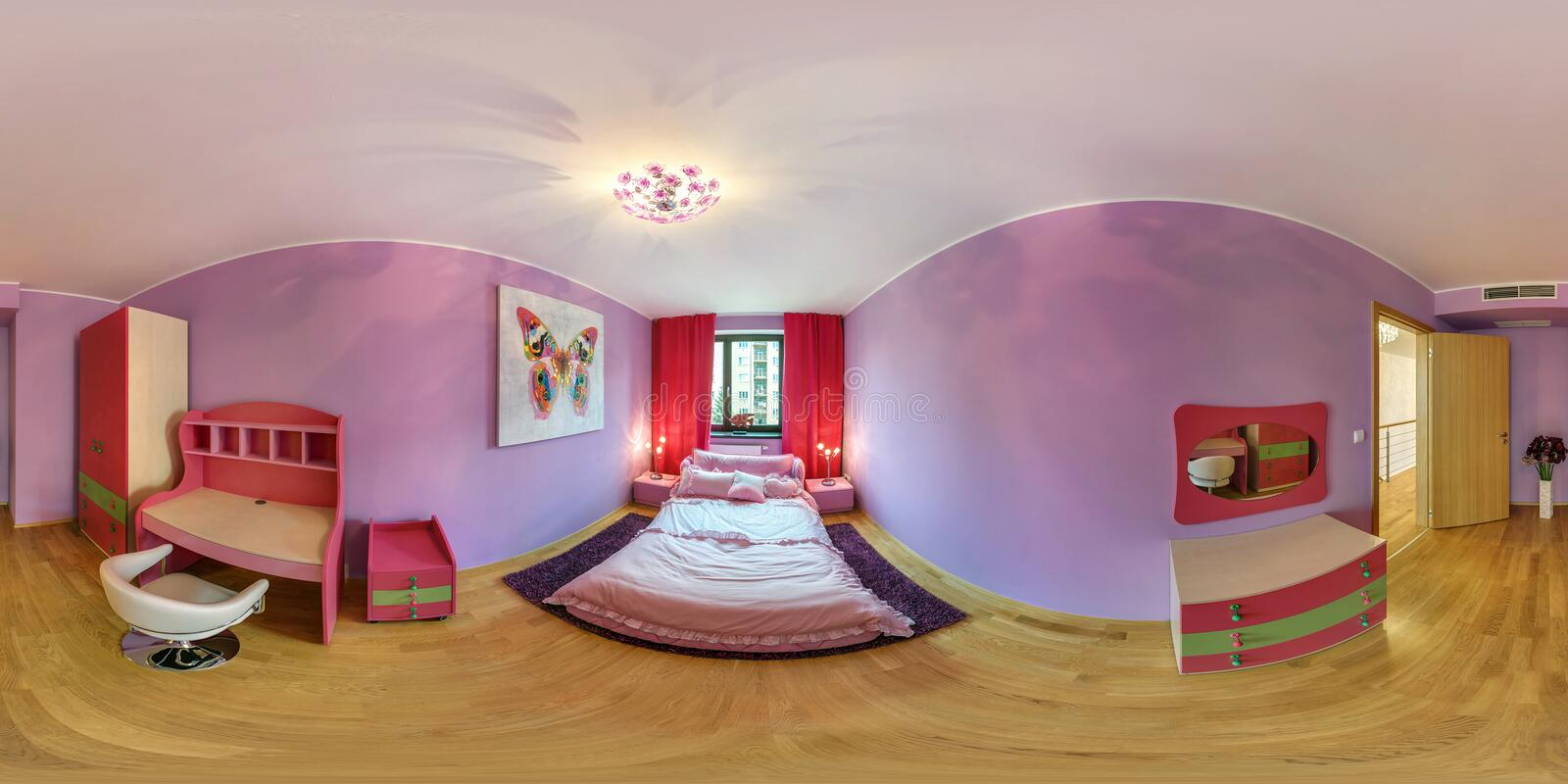 PRAHA, CZECH REPUBLIC - AUGUST 08, 2013: Modern loft apartment interior, children room in pink color, full 360 panorama in royalty free stock image