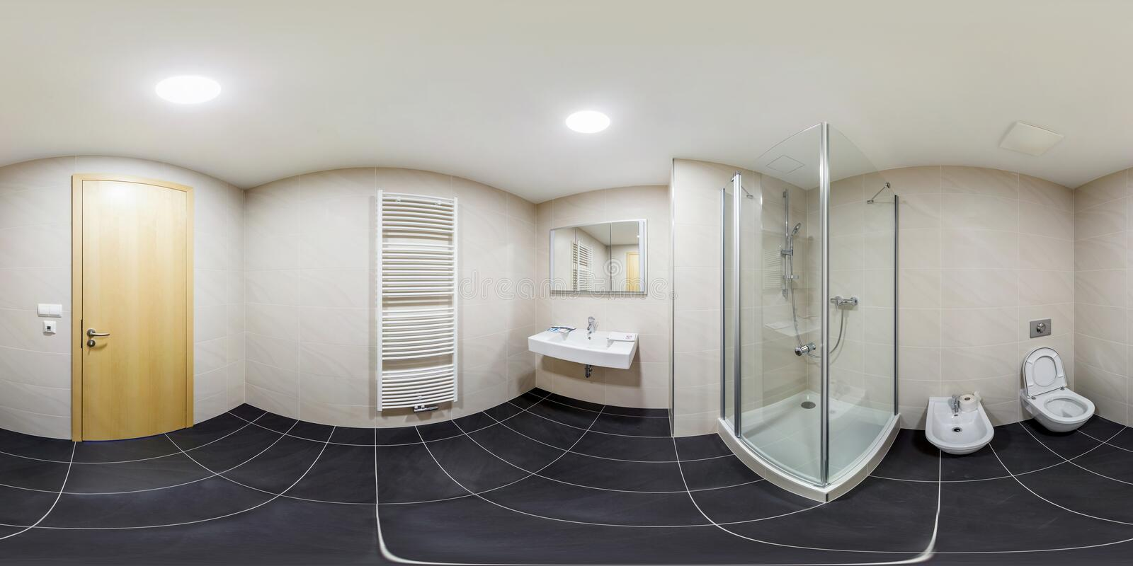 PRAHA , CZECH REPUBLIC - JULY 26, 2013: Inside of the interior of white bathroom in minimalistic style. Full 360 degree panorama. PRAHA , CZECH REPUBLIC - JULY stock image