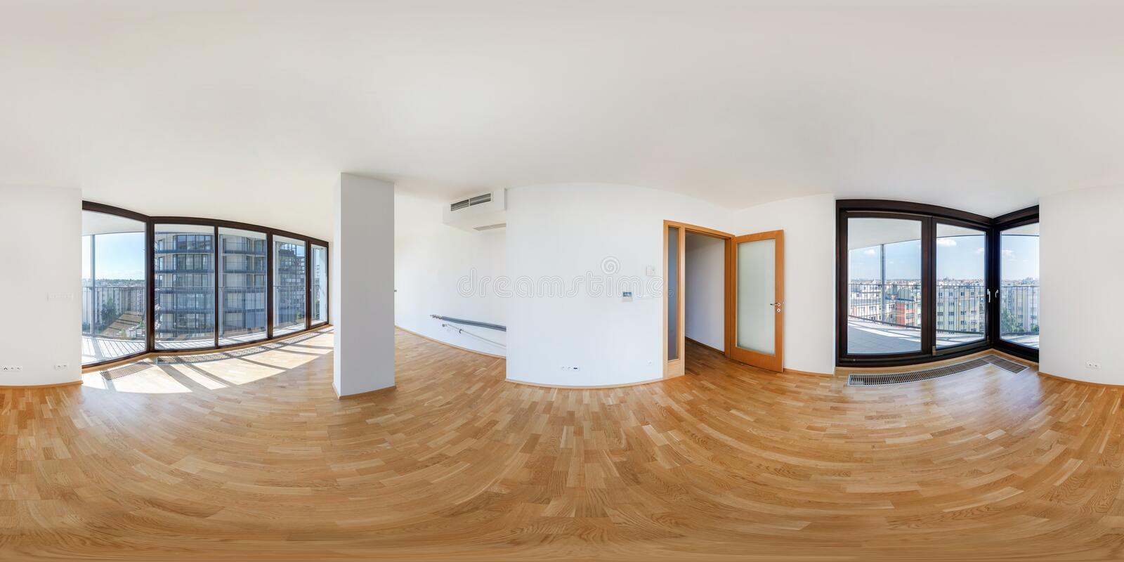 PRAHA, Czech Republic - JULY 21, 2014: Panorama of modern white empty loft apartment interior living hall room, full 360 seamless. Panorama in equirectangular stock photos