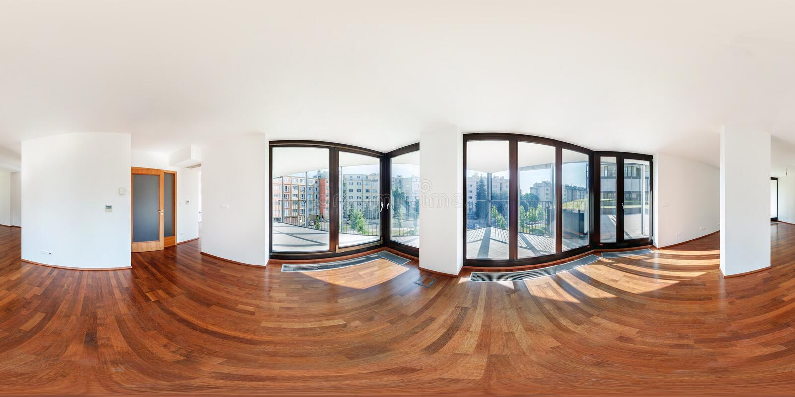PRAHA, Czech Republic - JULY 21, 2014: Panorama of modern white empty loft apartment interior living hall room, full 360 seamless. Panorama in equirectangular stock photo
