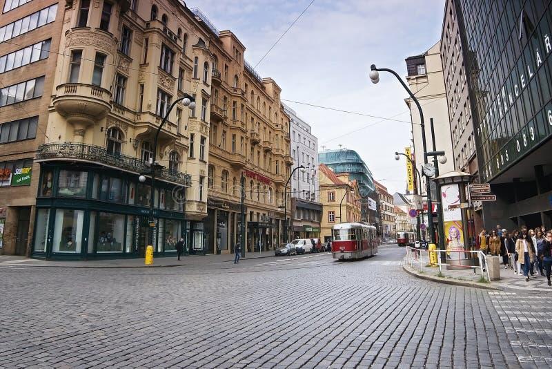 Praha, Czech republic - May 08, 2017: old historical red tram running Narodni street in spring Prague stock photography
