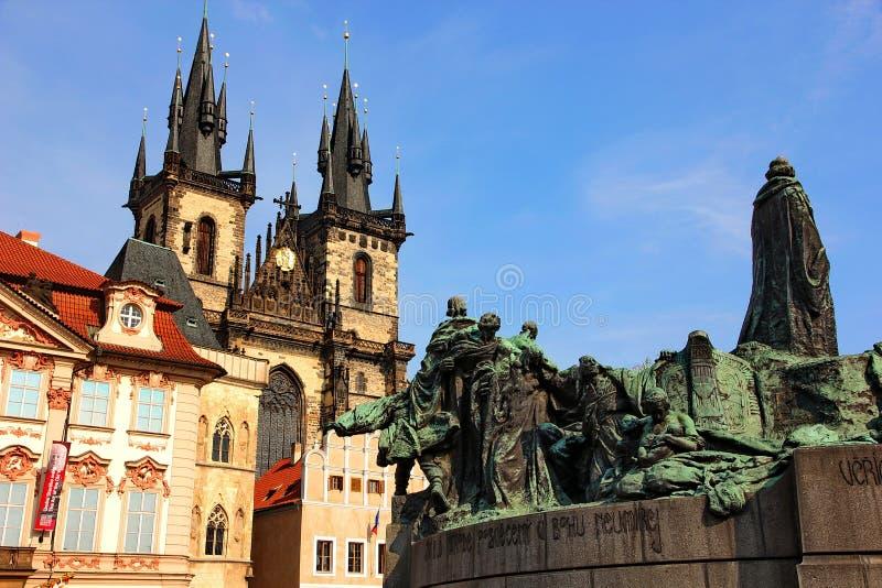 Praha staart de Tsjechische Republiek, mistestkavierkant royalty-vrije stock afbeelding