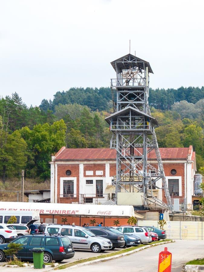 The lifting tower near the salt mines in Slanic - Salina Slanic Prahova - in the town of Prahova in Romania. Prahova, Romania, October 04, 2017 : The lifting stock photography