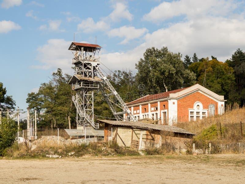 The lifting tower near the salt mines in Slanic - Salina Slanic Prahova - in the town of Prahova in Romania. Prahova, Romania, October 04, 2017 : The lifting stock photos