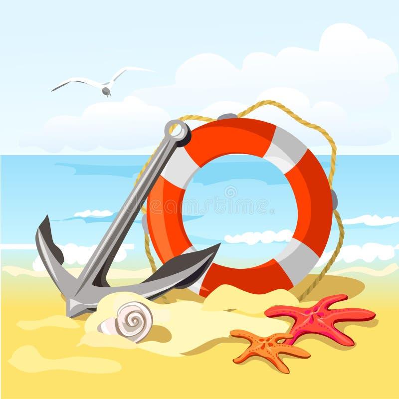 Praia, âncora, boia salva-vidas e estrela do mar ilustração stock
