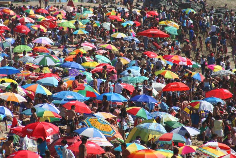 Praia aglomerada imagem de stock royalty free