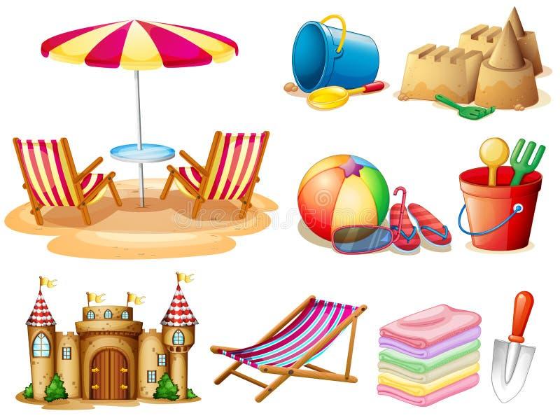 Praia ajustada com assento e brinquedos ilustração royalty free