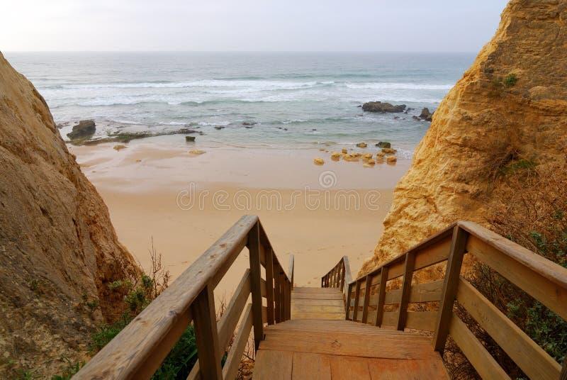 praia algarve da Португалии шагает к vau деревянному стоковые изображения