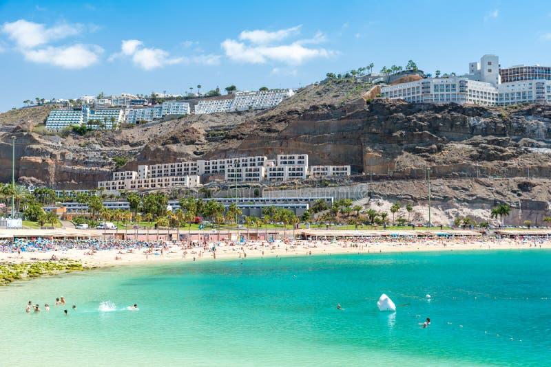 Praia Amadores em Porto Rico, ilha Gran Canaria de spain fotografia de stock royalty free