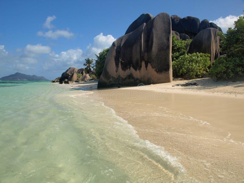 A praia Anse Sourse D'Argent fotografia de stock