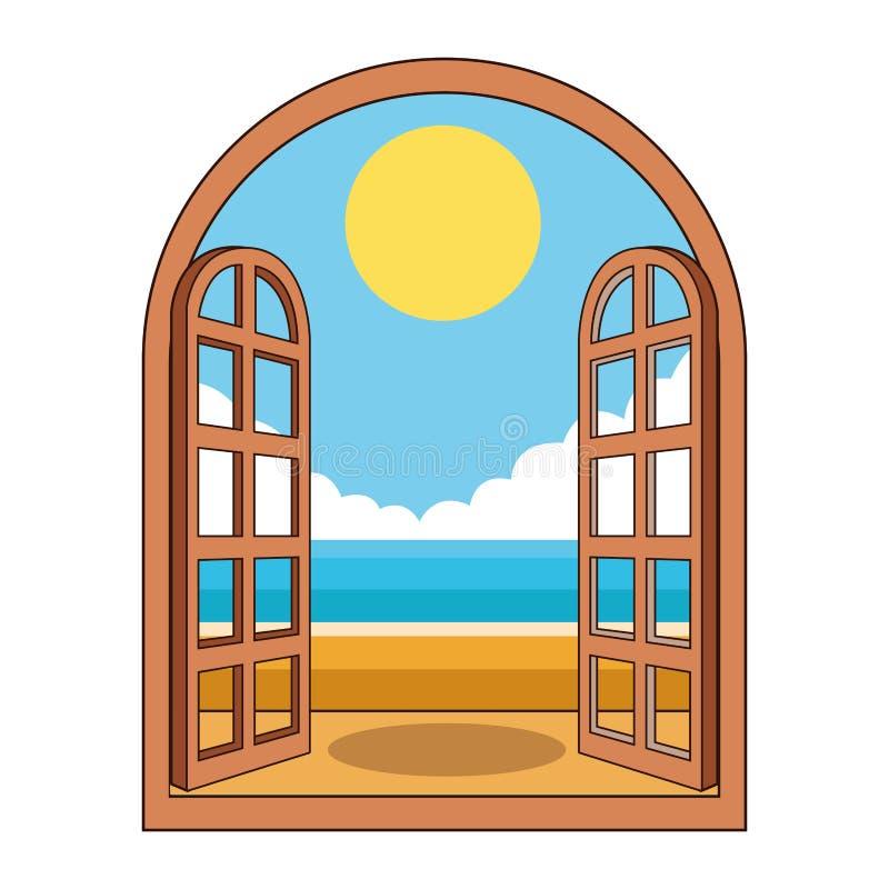 Praia através da janela ilustração do vetor