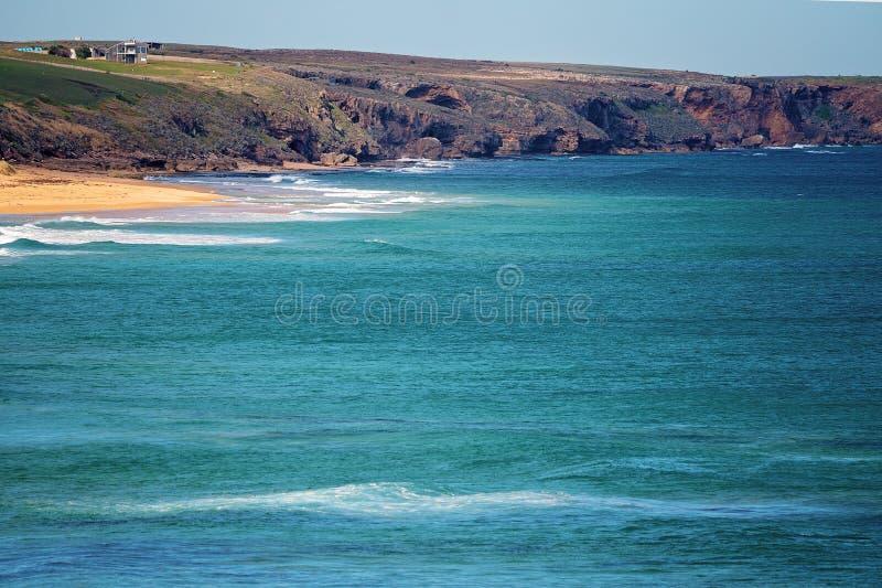 A praia Austrália de Logan do litoral do oceano fotos de stock