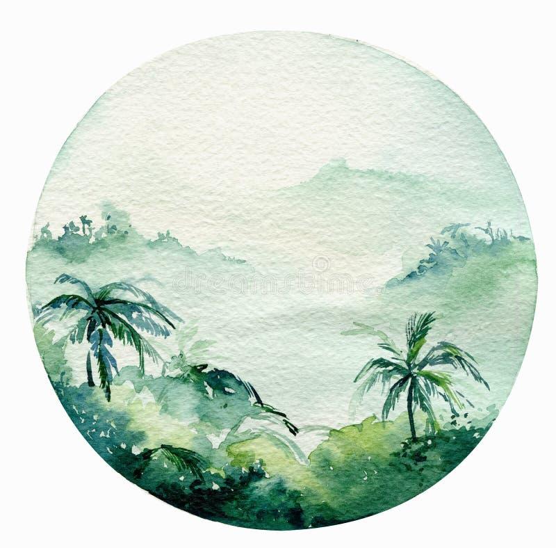Praia, aventura, bicicleta e mais motorollier da ressaca do oceano da aquarela, atividade do feriado do divertimento, ilustração  ilustração stock