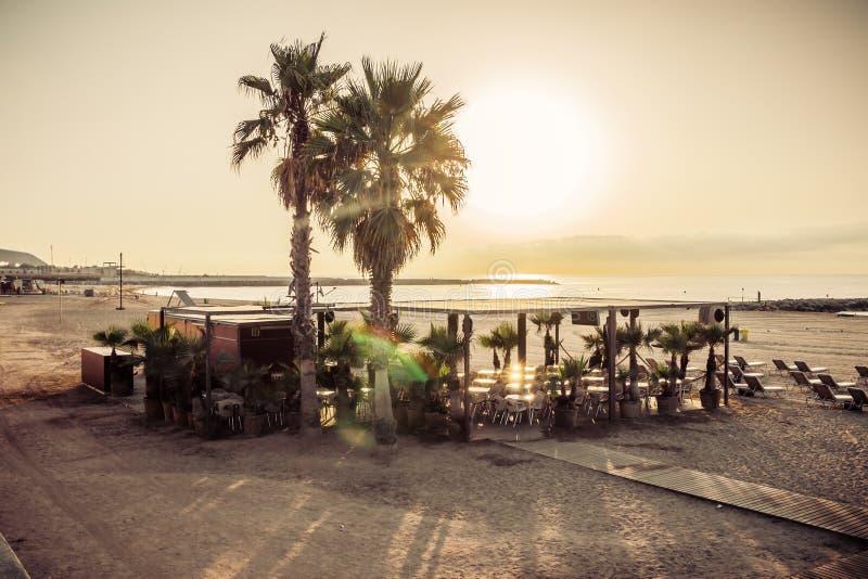 Praia Barcelona do café. Catalonia, Espanha foto de stock